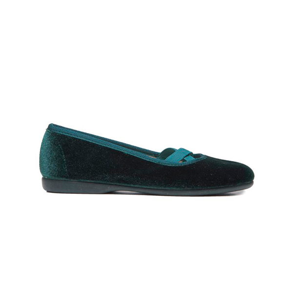 Girls' Childrenchic® Criss-Cross Dark Green Velvet Ballet Flats