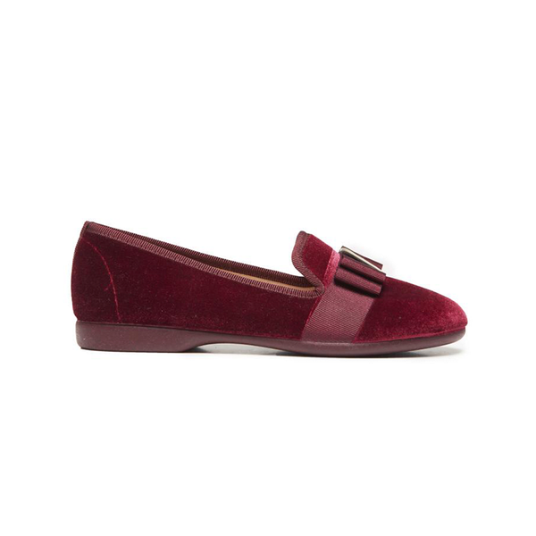 Girls' Childrenchic® Burgundy Velvet and Grosgrain Bow Loafers