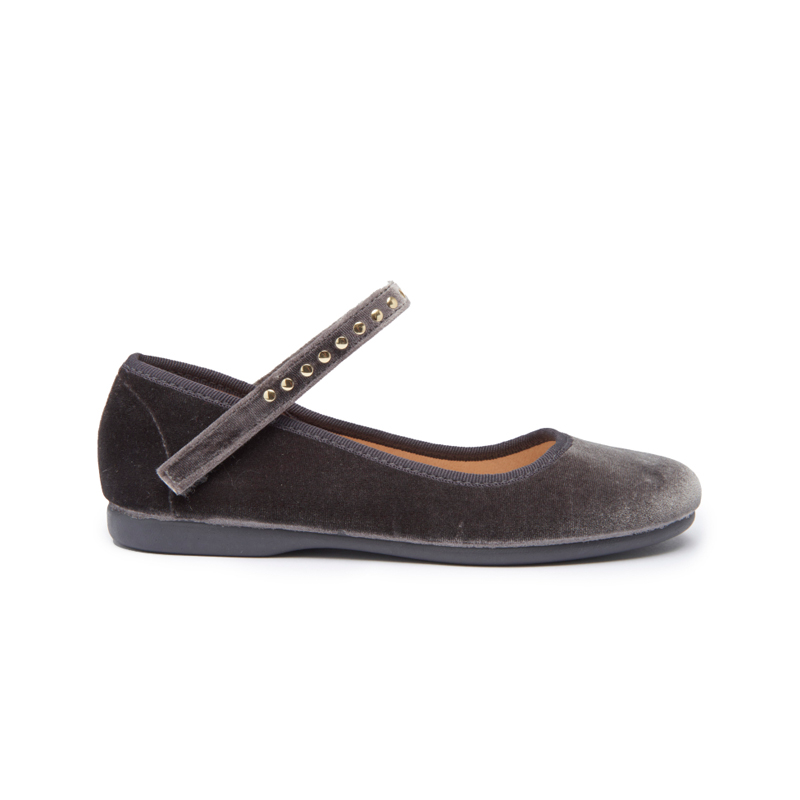 Girls' Childrenchic® Grey Velvet Mary Janes with Studs