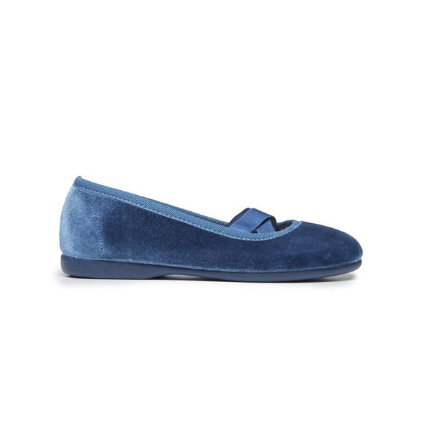 Girls' Childrenchic® Criss-Cross Azure Blue Velvet Ballet Flats