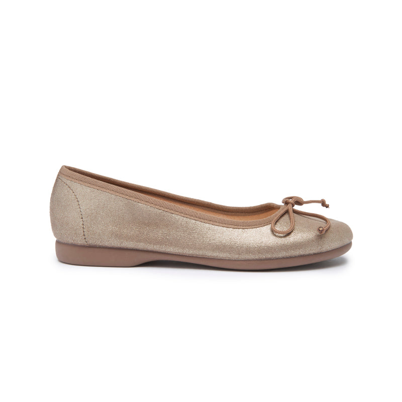 Girls' Childrenchic® Bronze Shimmer Leather Ballet Flats