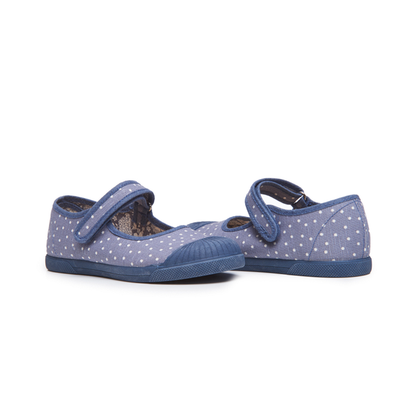 Copy of Girls' Childrenchic® Canvas Mary Jane Captoe Sneakers in Blue Dots