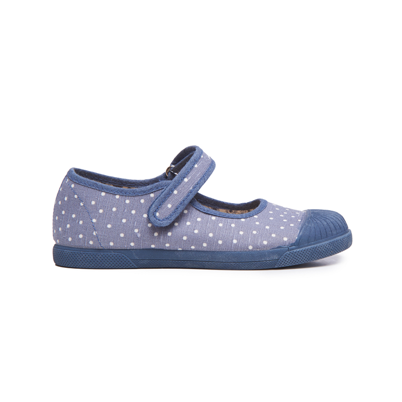 Girls' Childrenchic® Canvas Mary Jane Captoe Sneakers in Blue Dots