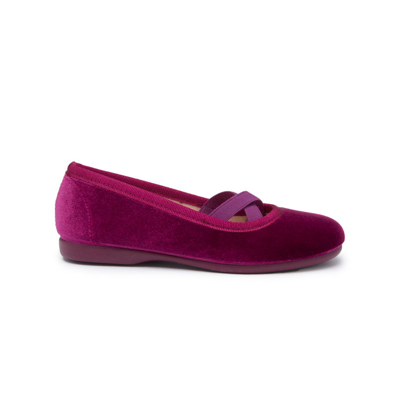 Girls' Childrenchic® Criss-Cross violet Velvet Ballet Flats
