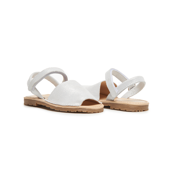 Girls' Childrenchic® Leather Sandals in Silver Shimmer