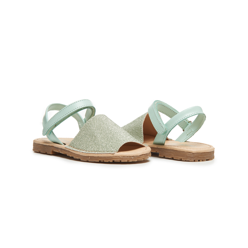 Girls' Childrenchic® Leather Sandals in Green Glitter