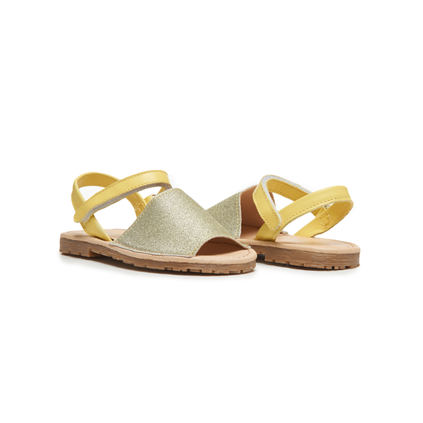 Girls' Childrenchic® Leather Sandals in Yellow Glitter