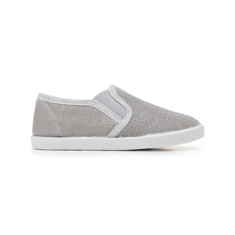 Girl's Childrenchic® Grey and Silver Slip-on Sneaker