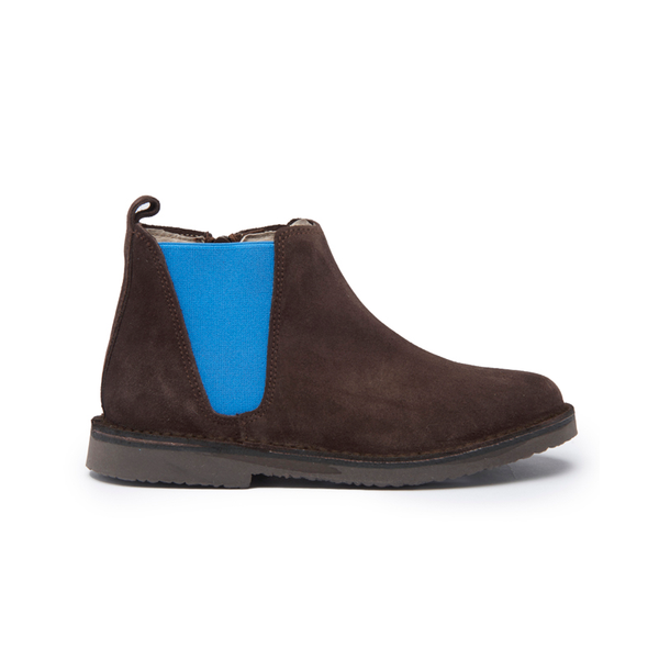 Kid's Childrenchic® Mocha Suede Chelsea Boots with Blue Elastic
