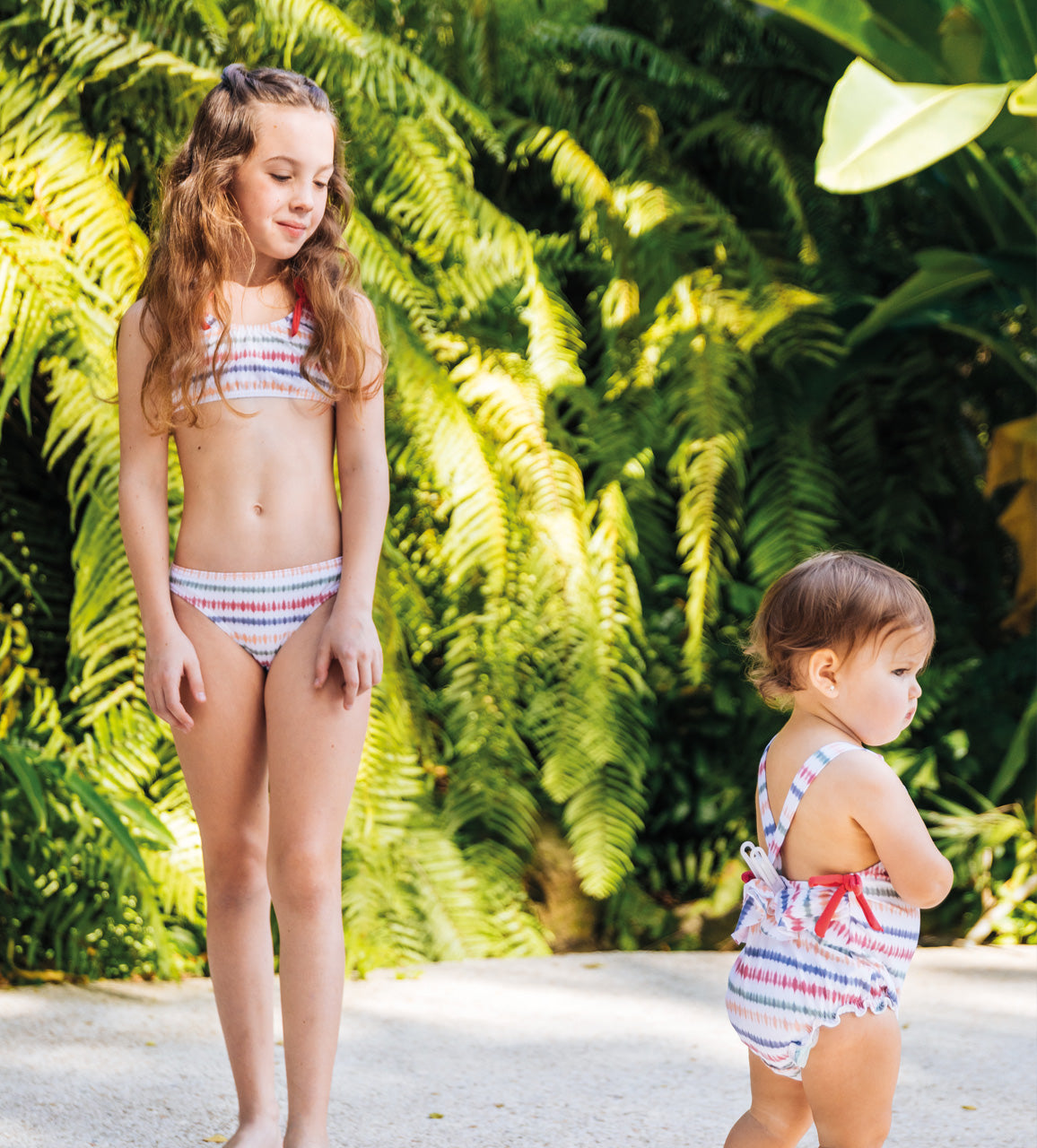 Baby Girl's Indie Sunset Stripes Swimsuit