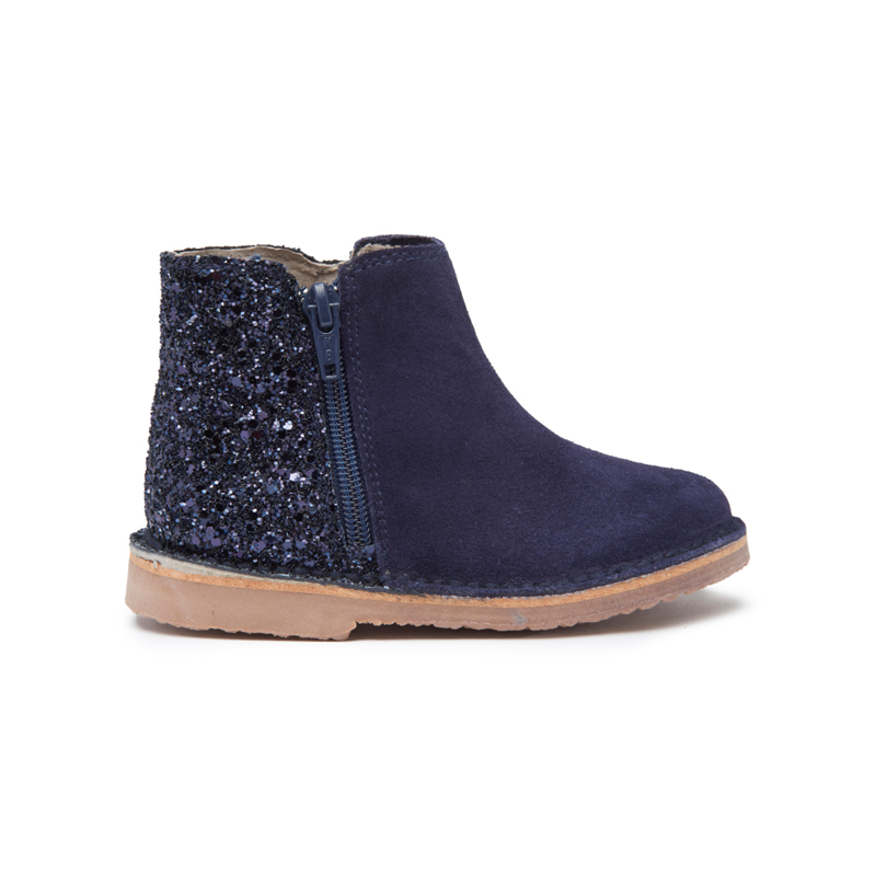 Girls' Childrenchic® Navy Sparkle and Suede Zipper Chelsea