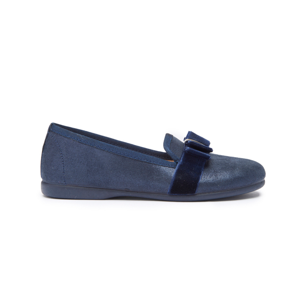 Girls' Childrenchic® Navy Shimmer and Grosgrain Bow Loafers