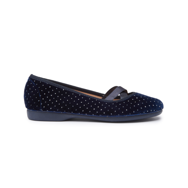 Girls' Childrenchic® Criss-Cross Navy Dots Velvet Ballet Flats