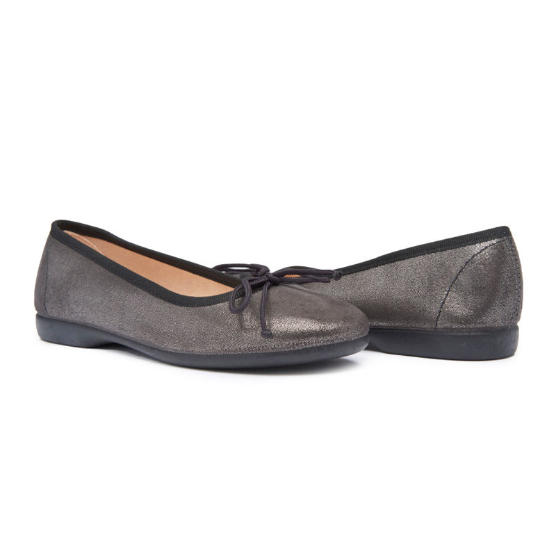 Girls' Childrenchic® Noir Shimmer Leather Ballet Flats
