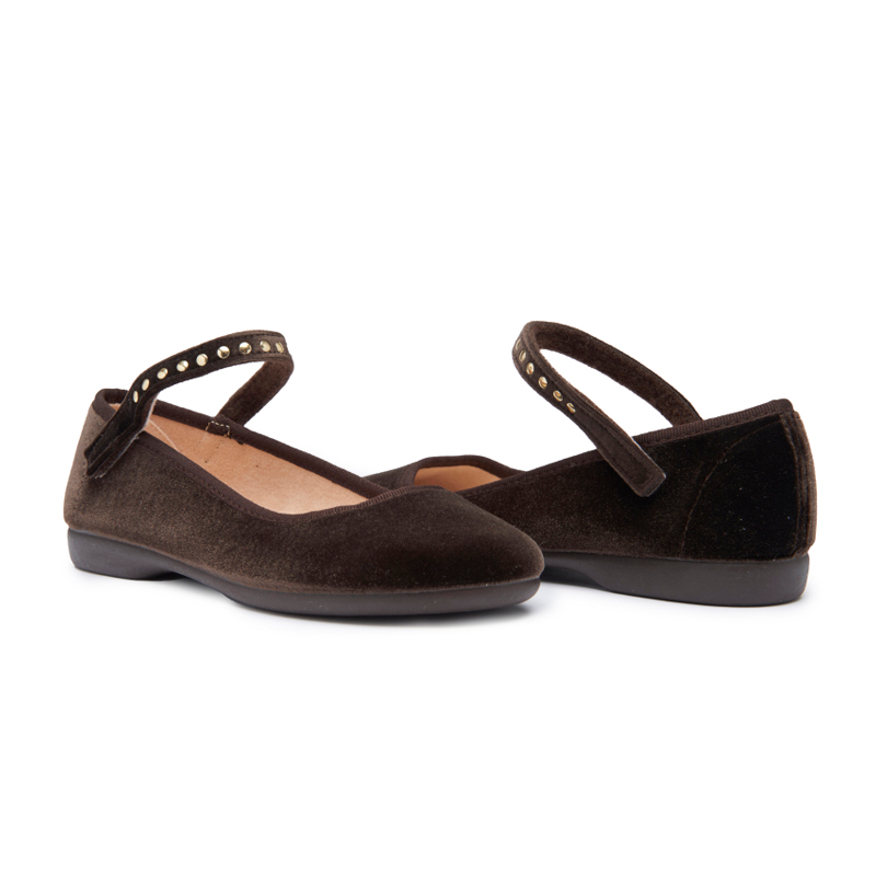 Girls' Childrenchic® Brown Velvet Mary Janes with Studs
