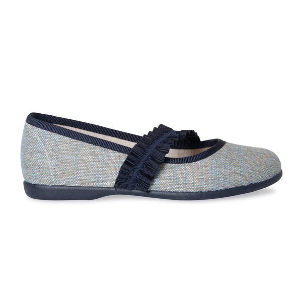 262b1e0a52f Girl s Childrenchic® Blue Brushed Linen with Navy Ruched Grosgrain Mary  Janes