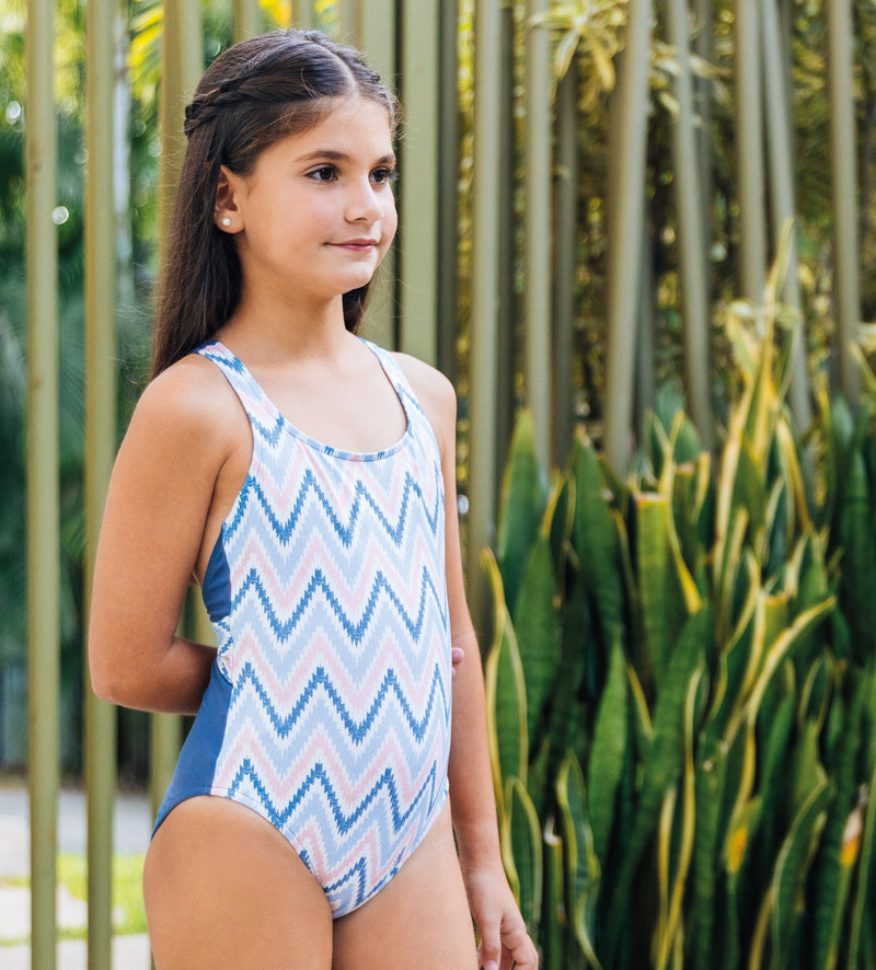 Girl's Childrenchic® Mod Chevron Swimsuit