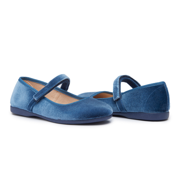 Girls' Childrenchic® Classic Azure Velvet Mary Janes