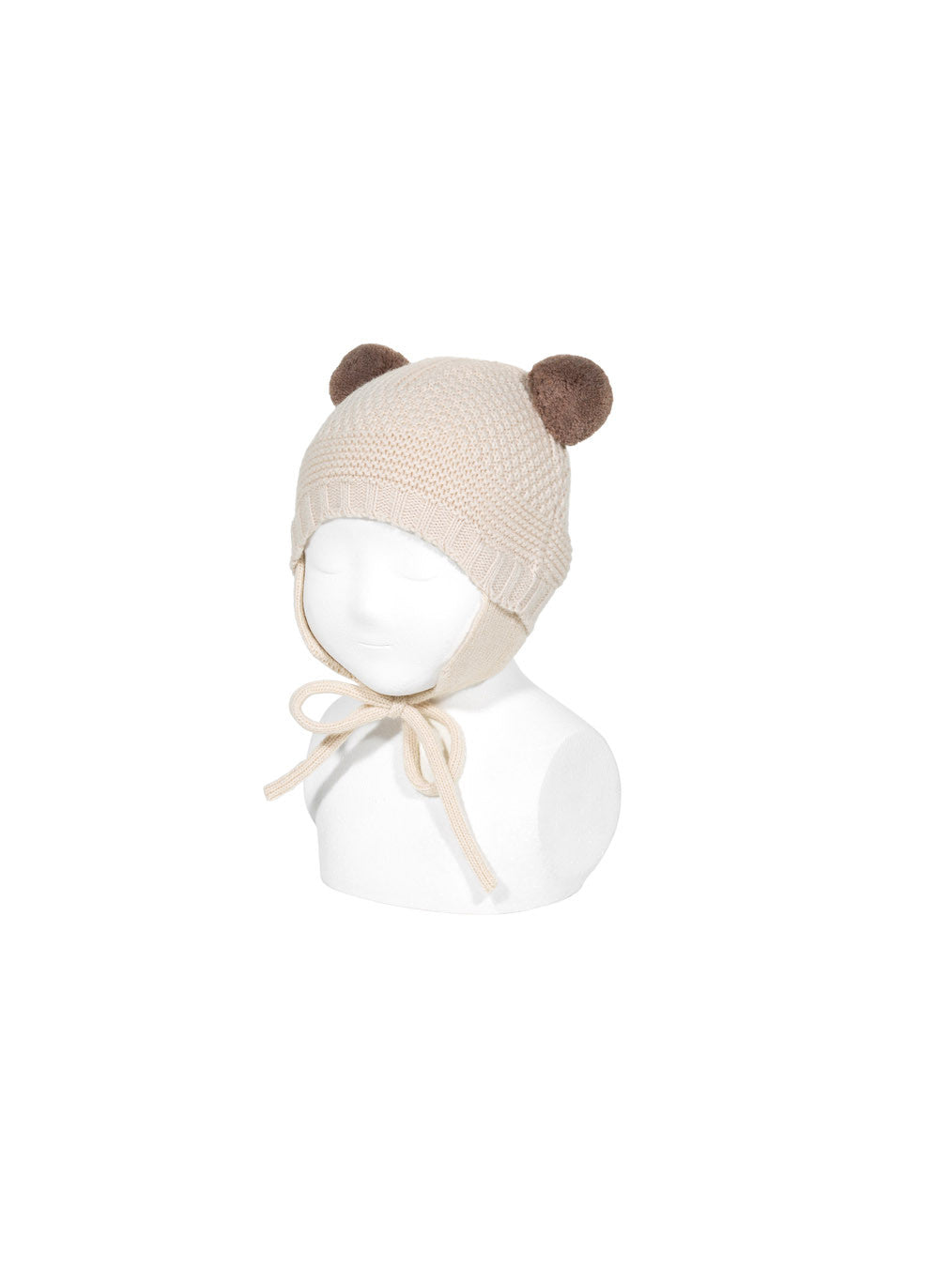 Sand Stitch Hat With Earflaps and Pompoms in Beige