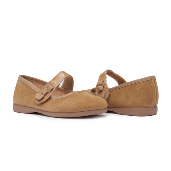 Girls' Childrenchic® Camel Suede Bow Mary Janes