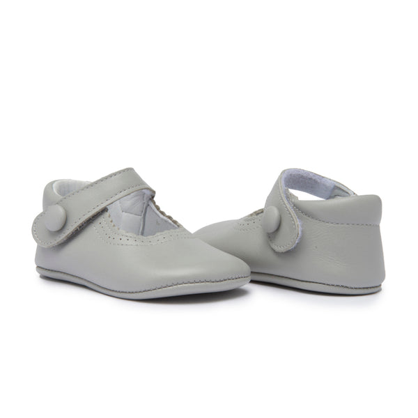 Childrenchic® My-First Grey Leather Baby Mary Janes