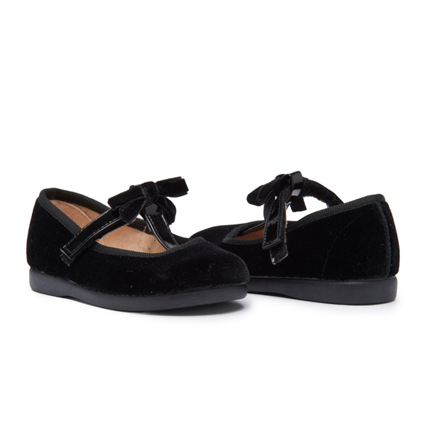 Girls' Childrenchic® T-strap black Velvet Party Shoes