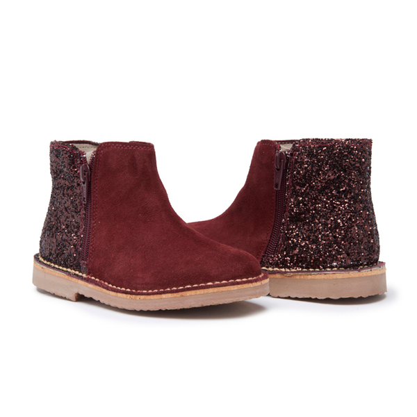 Girls' Childrenchic® Burgundy Sparkle and  Suede Zipper Chelsea
