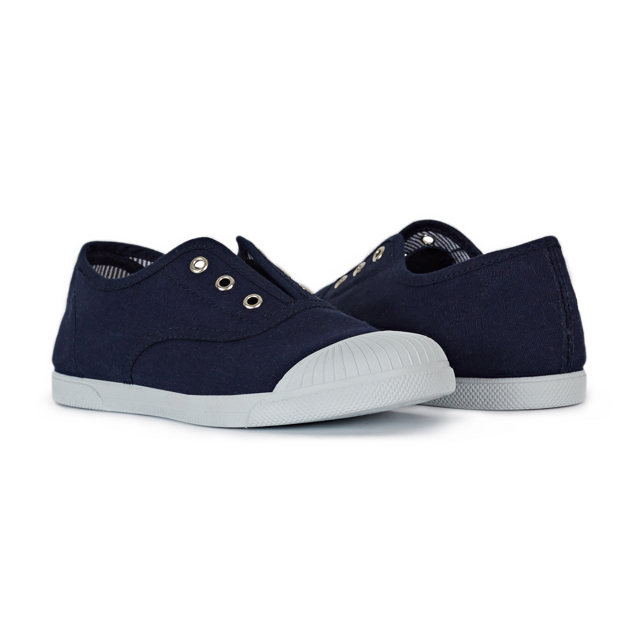 Unisex Canvas Navy Captoe Slip-on Sneakers with Striped Insoles