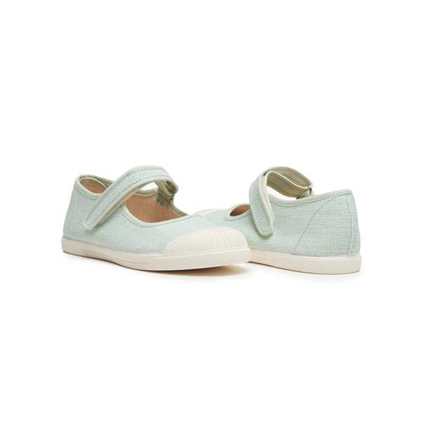 Girls' Childrenchic® Linen Mary Jane Sneakers in Mint