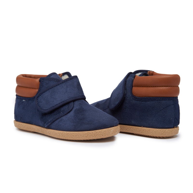 Kids' Childrenchic® Navy Suede and Leather McAlister Booties