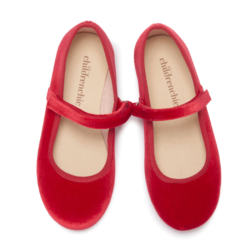 Girls' Childrenchic® Classic Red Velvet Mary Janes