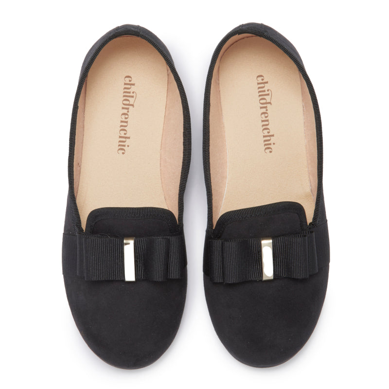 Girls' Childrenchic® Black Suede and Grosgrain Bow Loafers