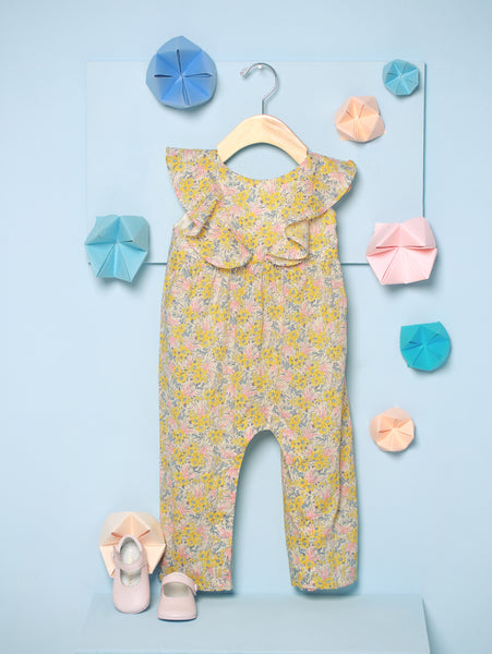Baby Girl Sunshine Liberty Swirling Petals Jumpsuit with Ruffles