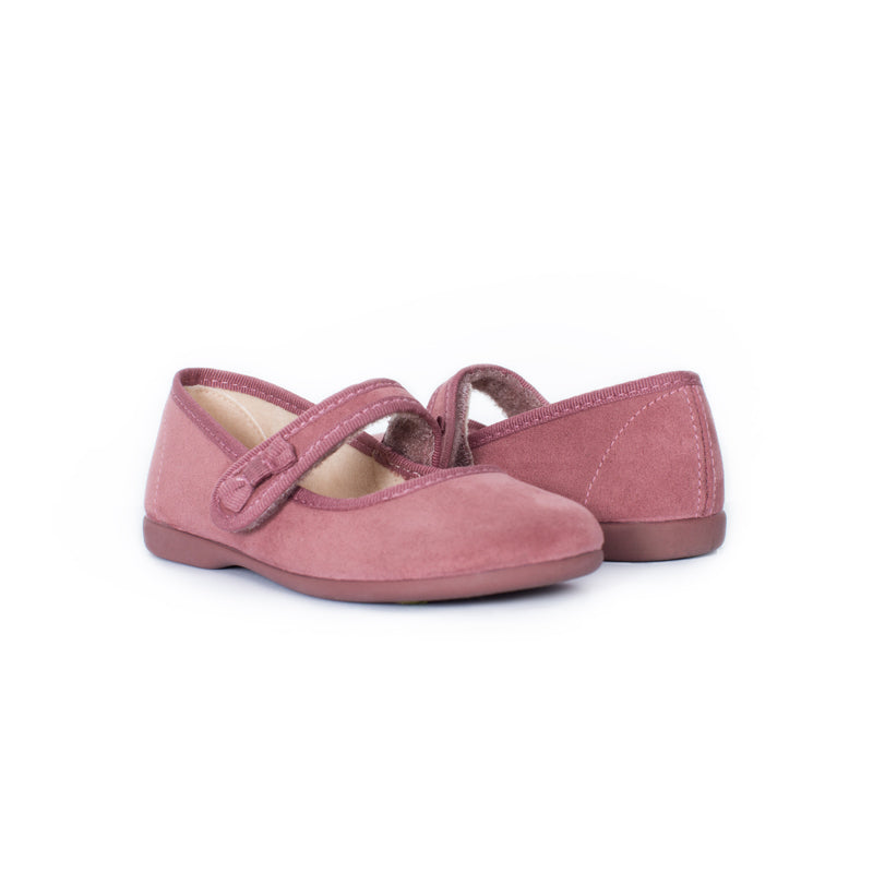 Girl's Pink Suede Bow Mary Janes