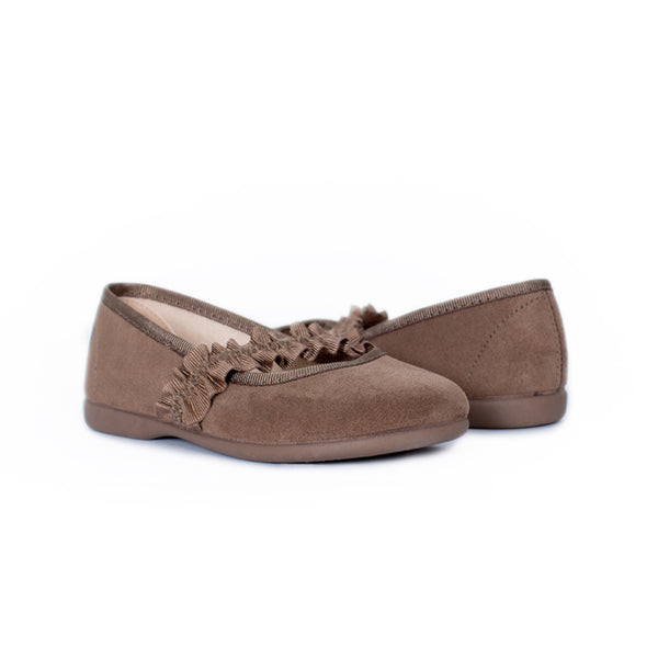 Girl's Camel Suede Ruched Grosgrain Mary Janes