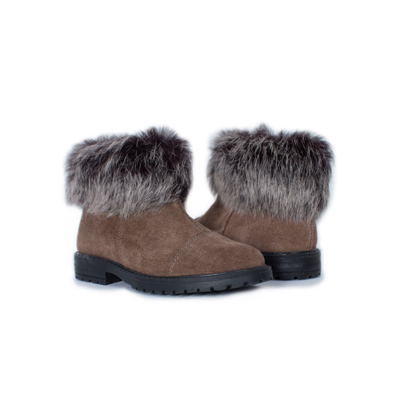 Girl's Brown Suede Ankle Boots with Faux Fur