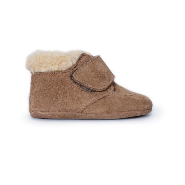 Childrenchic® My-First Camel Suede Baby Pram Velcro Booties with Faux Shearling