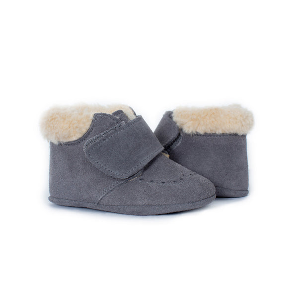 My-First Grey Suede Baby Pram Velcro Booties with Faux Shearling
