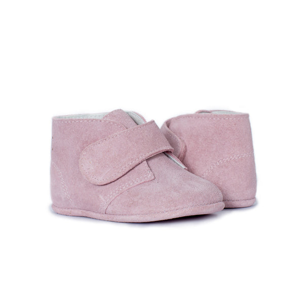 My-First Pink Suede Baby Pram Velcro Booties