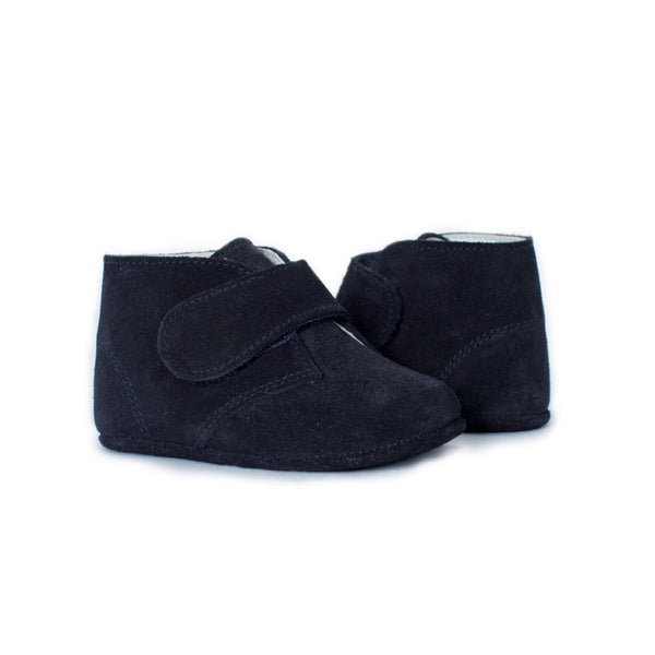 My-First Navy Suede Baby Pram Velcro Booties