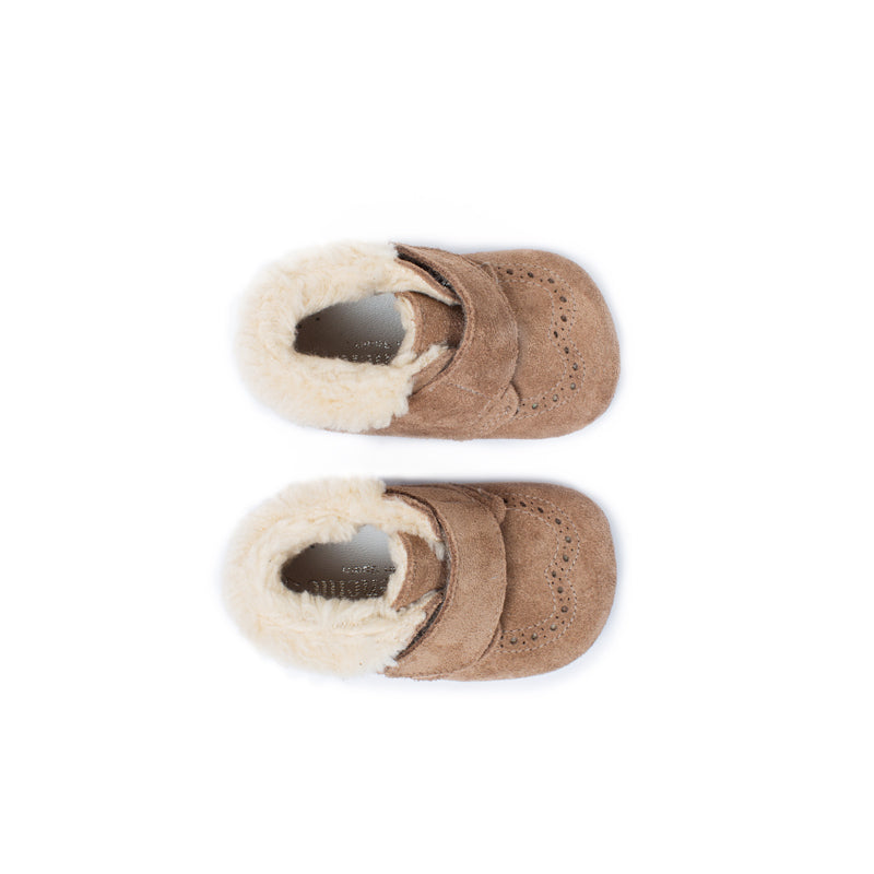My-First Camel Suede Baby Pram Velcro Booties with Faux Shearling