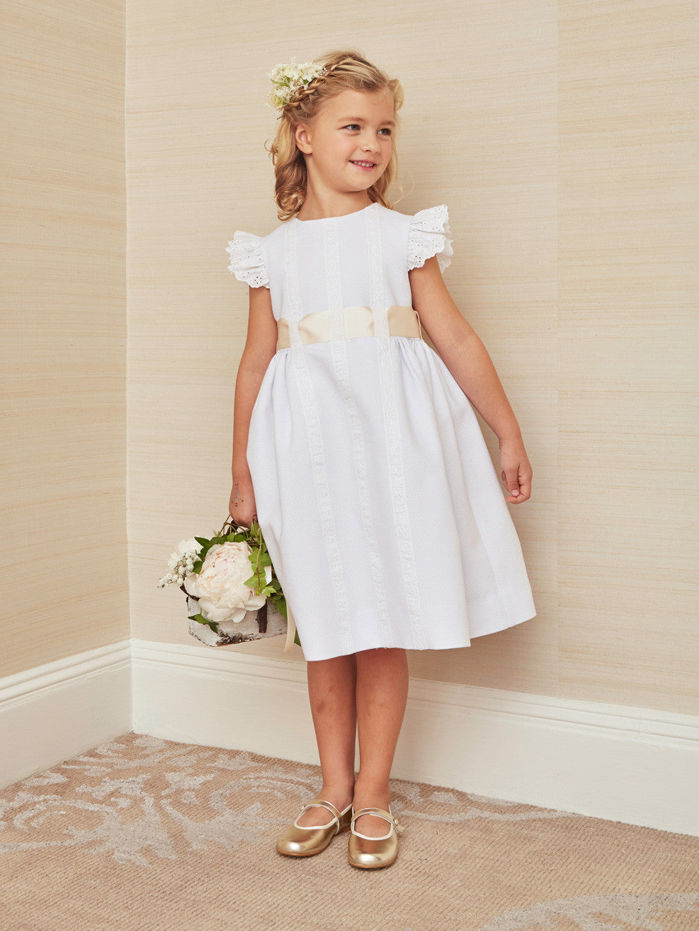Beautiful White Pique Cotton Dress With Wide Satin Ribbon