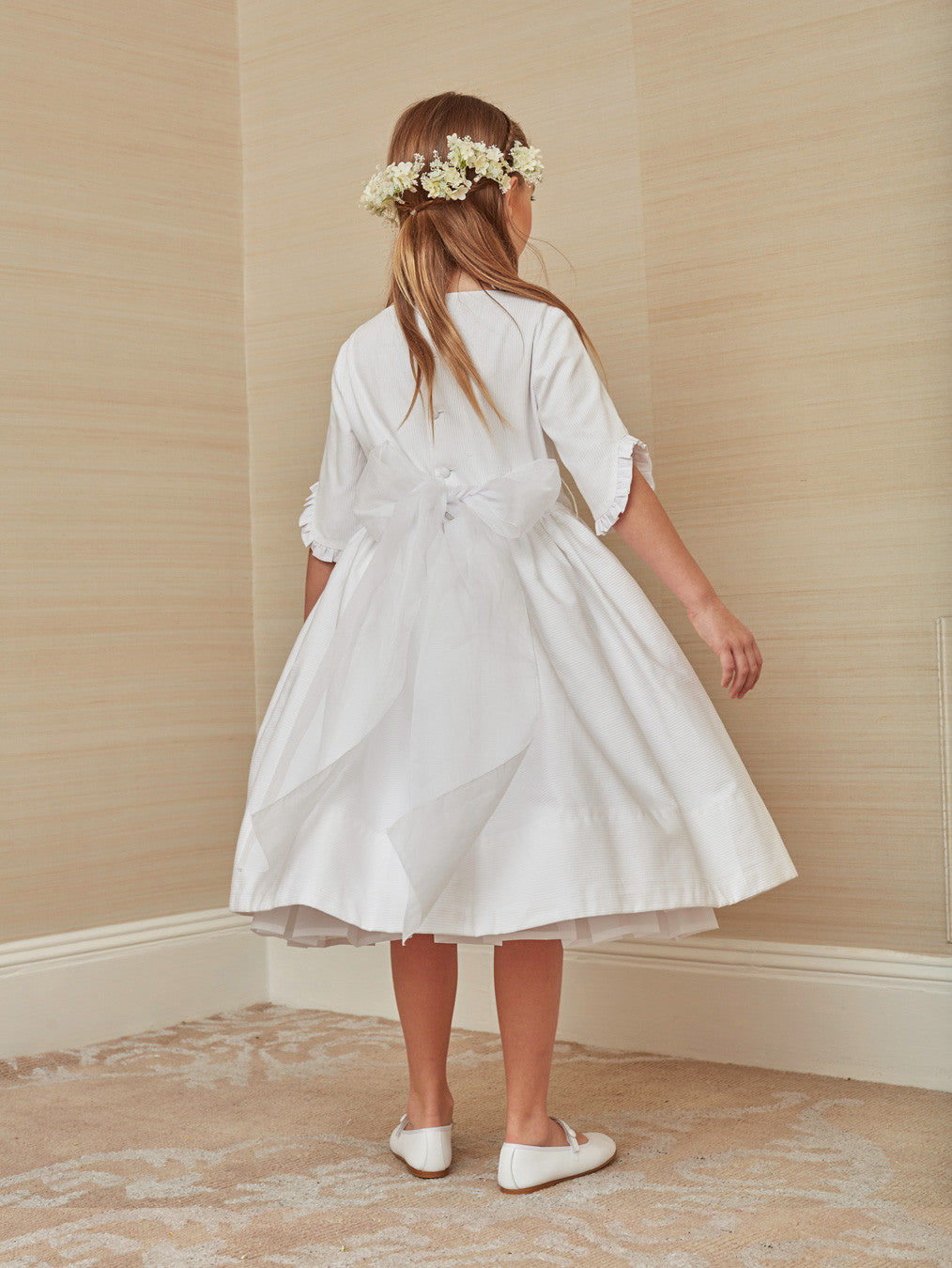 Chic First Communion Dress in off-white Cotton
