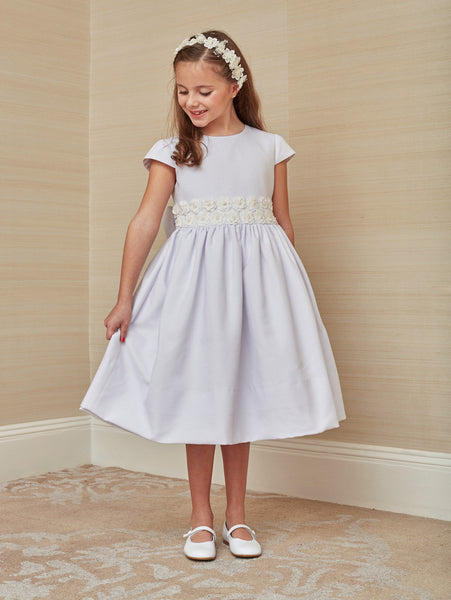 First Communion Dress in White Cotton Pique