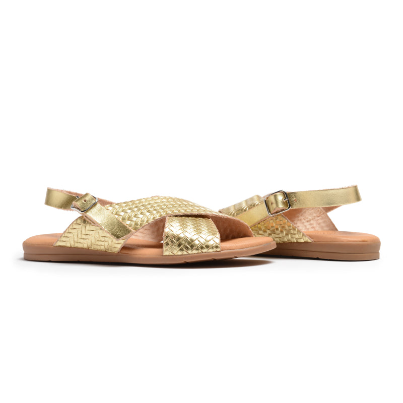 Girls' Childrenchic® braided leather sandals in metallic gold