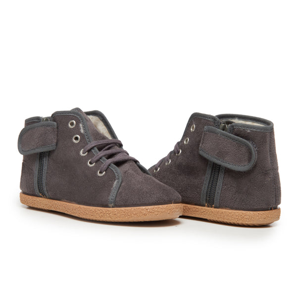 Kid's Childrenchic® Charcoal Suede Lace-Up McAlister Booties with Zipper
