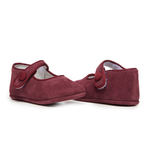 Childrenchic® My-First Burgundy Suede Baby Mary Janes
