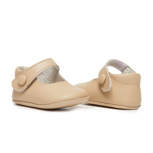 Childrenchic® My-First Tan Leather Baby Mary Janes