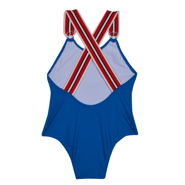 Girls's Childrenchic® Criss-Cross Indigo Swimsuit