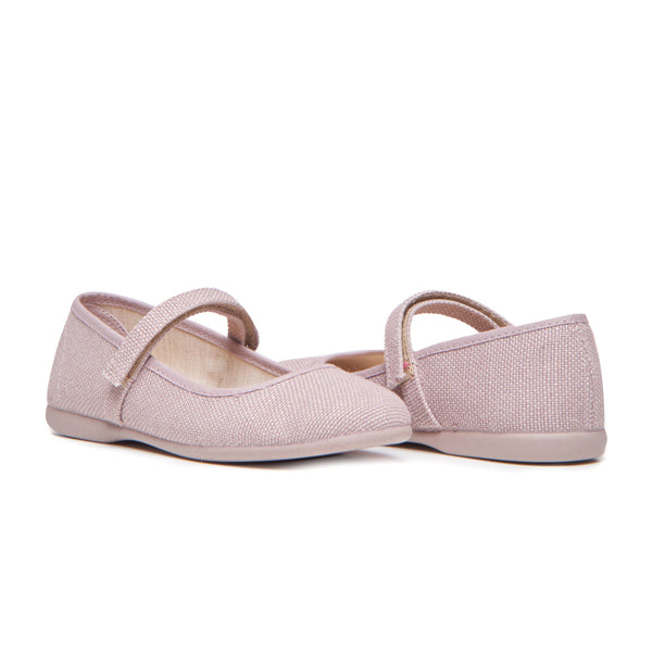 Girls' Childrenchic® Canvas Mary Janes in Textured Mauve